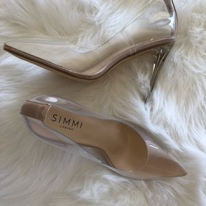 Clear stiletto heels